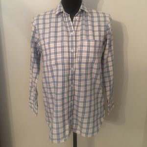 Madewell Women's Blue Pink White Flannel Shirt
